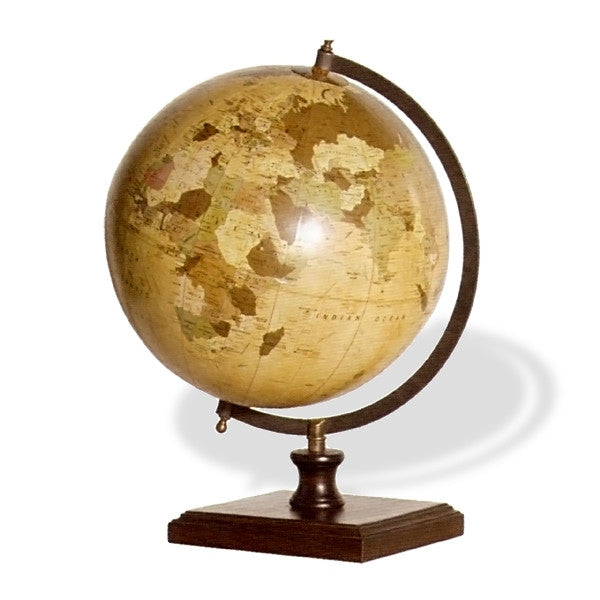 A great gift for the home or study.  Beautifully aged world globe which swivels on a wooden base. H: 45 cm