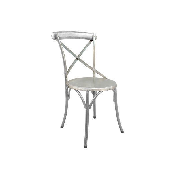 Galvanised Steel X Back Dining Chair