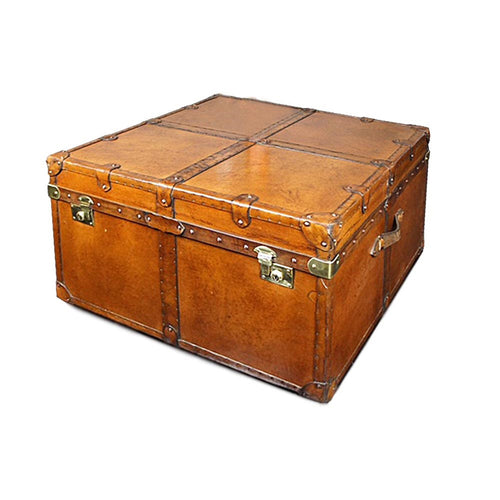 Leather Coffee Table Trunk With Straps
