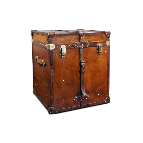 Leather Cube Trunk With Brass fittings and Straps