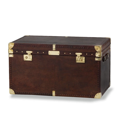 "Large ""Coffee Table"" Brown Leather & Brass Travel Trunk"