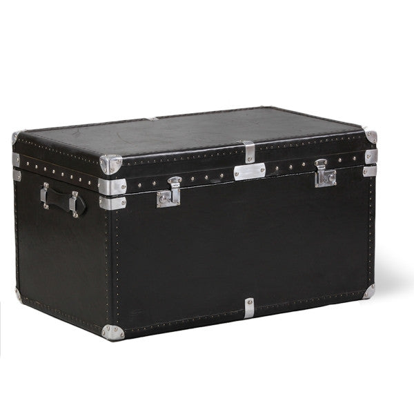 "Large ""Coffee Table"" Black Leather & Ali Travel Trunk"