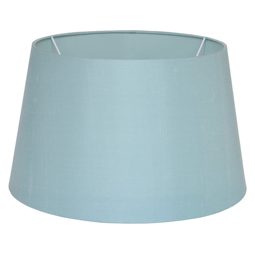 Duck egg blue silk drum shade.  For table & floor lamps.  W: 45 cm H: 28 cm