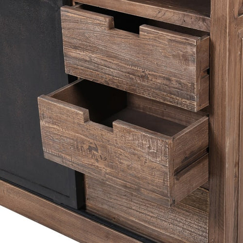 Elm and Iron Cabinet  201 cm