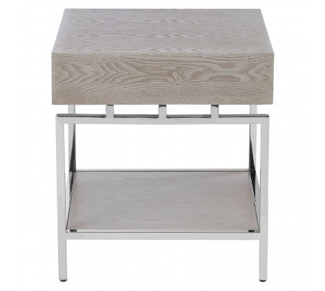 Pale Wood and Chrome Side Table