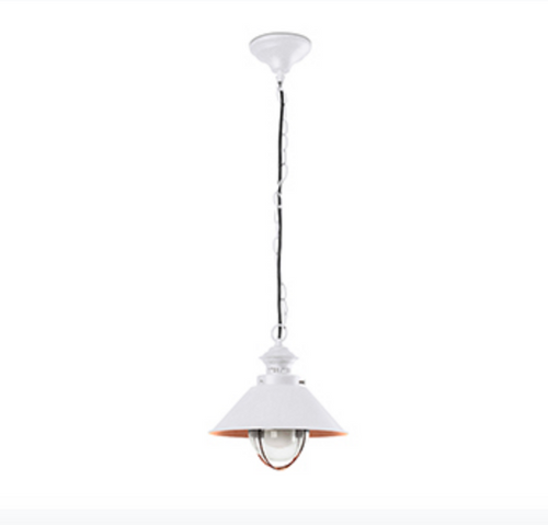 Brown/White and Copper Outdoor Pendant Lamp