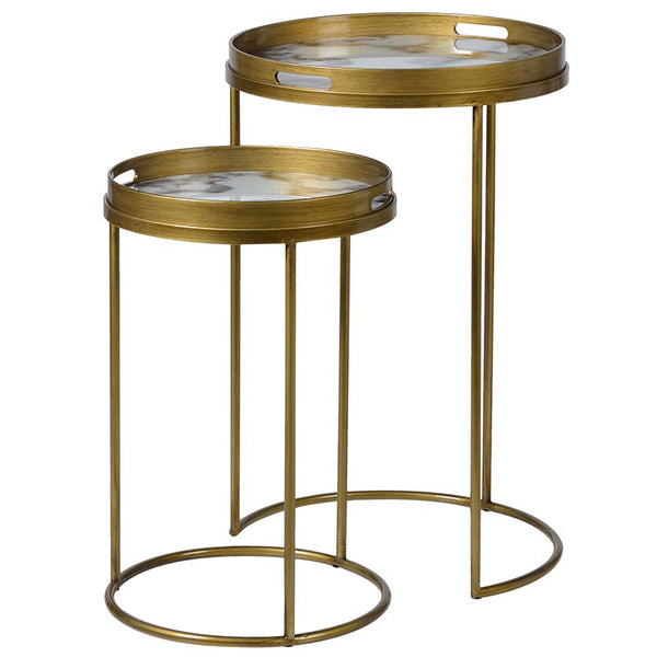 White Marble Effect Side Tables