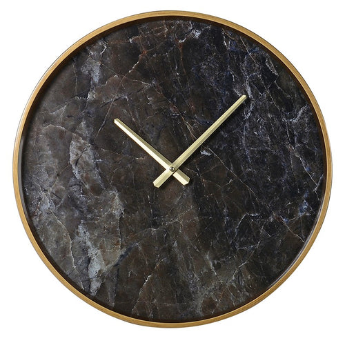 Black Marble Wall Clock 46cm