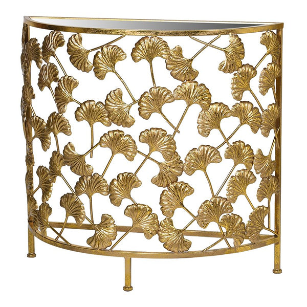 Gold Ginkgo Leaf Half Moon Console Table
