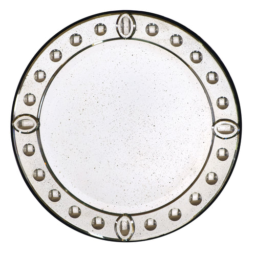 60cm Round Aged Glass Venetian Mirror with Convex Detailing