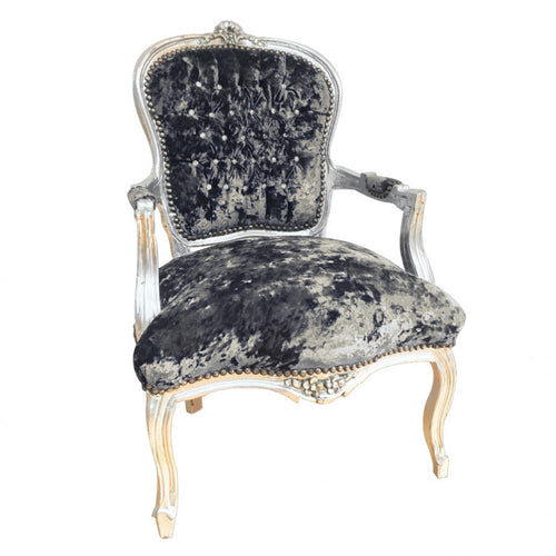 Crushed Grey Velvet Chair with Silver Frame & Crystal Studded Back