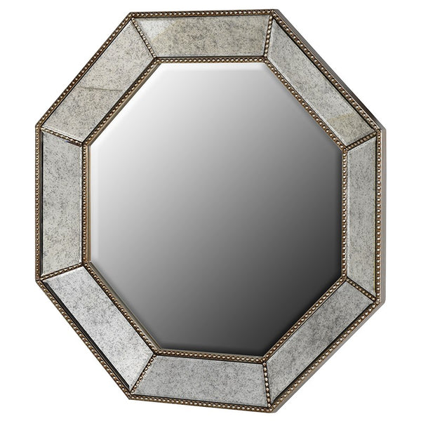 Mottled Grey Studded Octagon Mirror