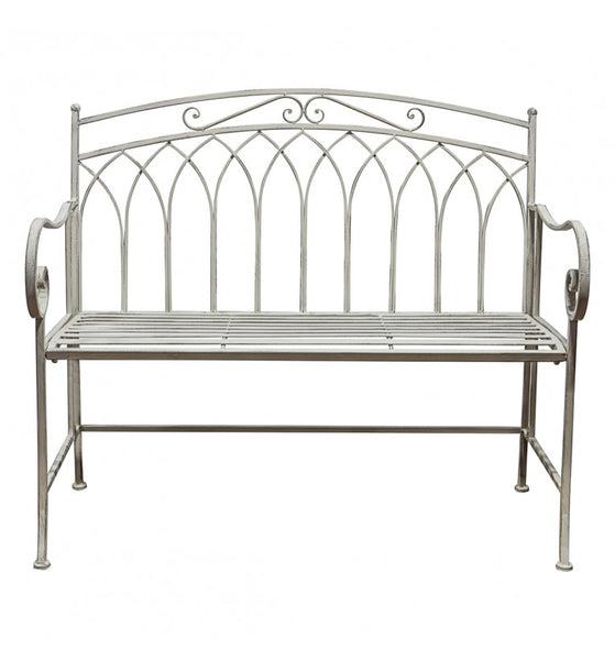 This garden bench has a distressed, painted white finish with rounded armrests. A matching foldable coffee table is also available.  H: 96 cm W: 58 cm D: 58 cm