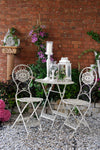 An elegant and attractive garden table and chairs perfect for patios or balconies. A beautiful metal bistro set which will lift your external space be it in your garden, conservatory or patio.  For maintenance free outdoor living.