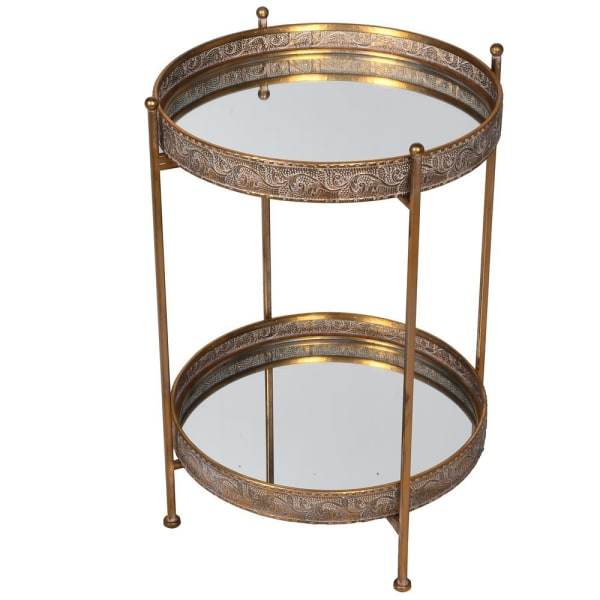 Gold Mirrored Side Table with Removable Trays