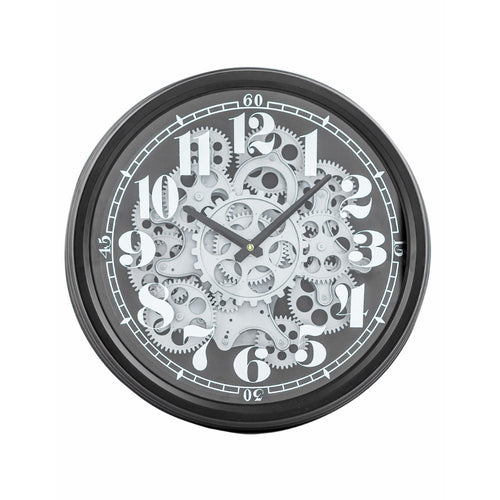 Visible working parts clock. Cog mechanisem in Black and Siver antique finish.