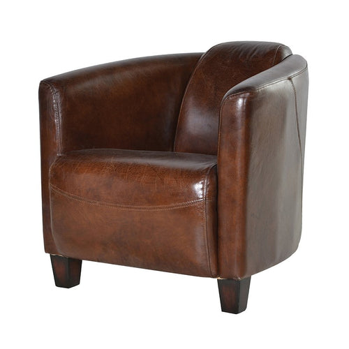 This tub chair is made from high grade leather hide which is handpicked for it's quality and finish. Super comfortable, you can sink in to this chair which is fully supportive and only gets better with age.   H: 64 cm W: 78 cm D: 72 cm