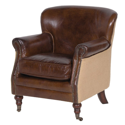 Vintage Leather Linen Armchair