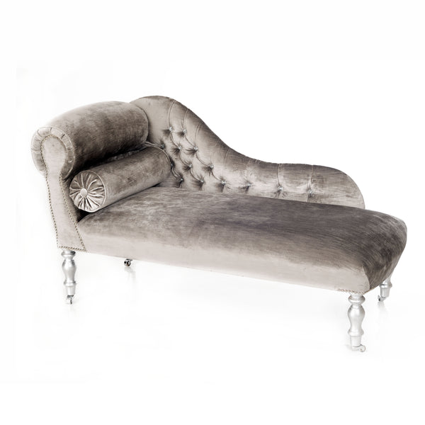 Heavenly Silver Velvet Chaise Longue with Swarovski Crystals