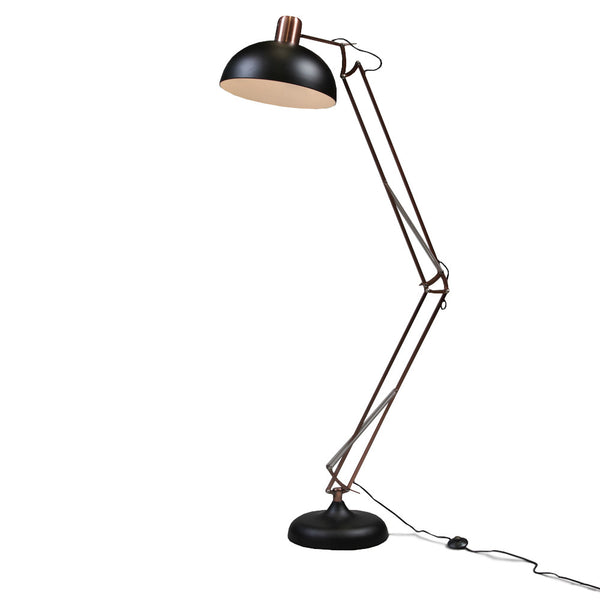 Copper arc floor lamp. Large copper floor-standing lamp