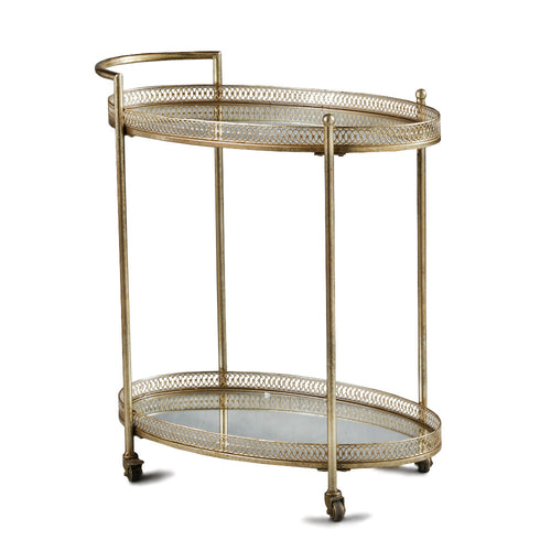 Drinks Trolley with Mirrored Shelves - GOLD