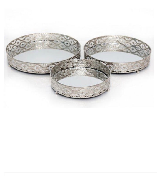 Set of 3 Nickel Mirrored Trays