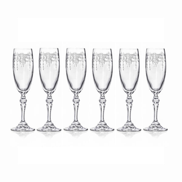 Etched Champagne Flute Glasses
