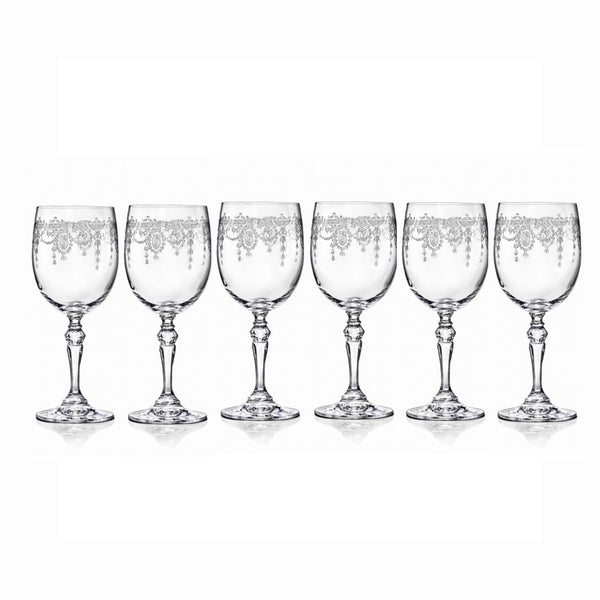 Etched Red Wine Glasses