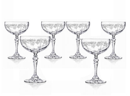 Etched Panto Large Wine Glasses