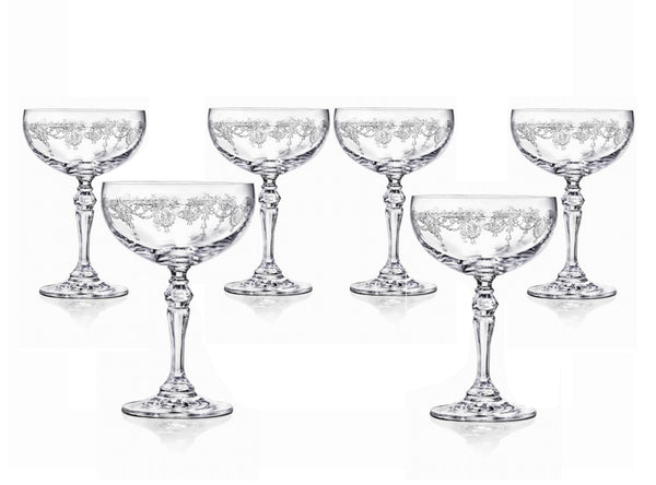 Etched Champagne Coupe Glasses