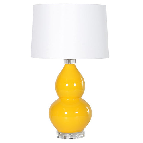 Shaped Yellow Table Lamp With Shade