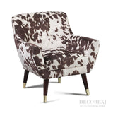 Brown/Black Cowhide Print Retro Armchair