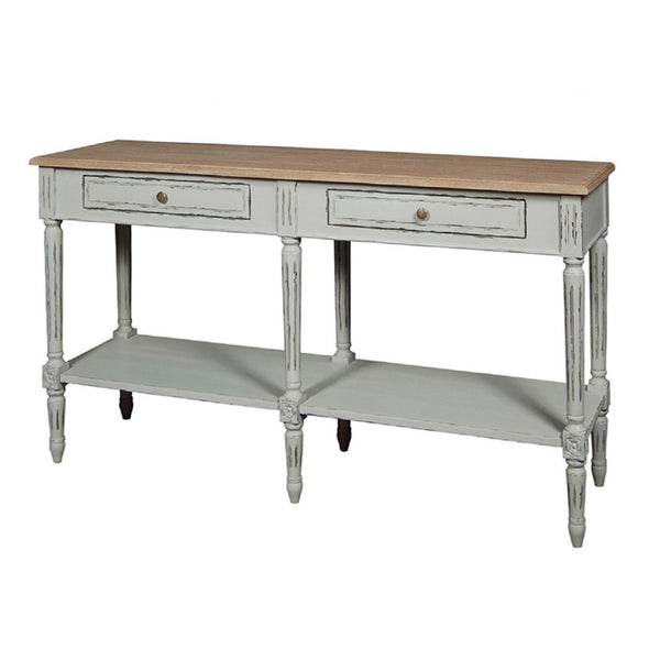 French Grey Elm Double Console Table
