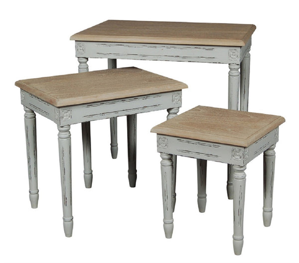 French Grey Elm Nest of Three Tables