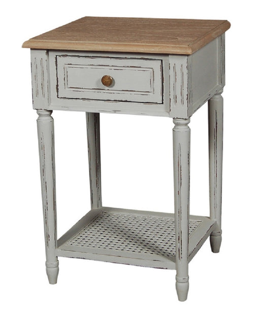 French Grey Elm Bedside Table