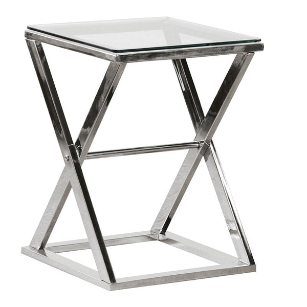 Silver Steel 'X' Frame End Table
