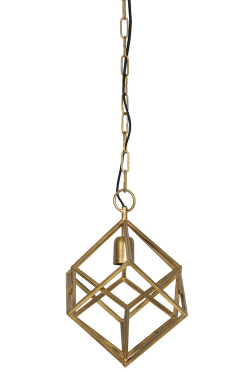 Made from a solid quality gold iron metal, this geometric light would look fabulous in any space looking to modernise and make a statement.    Fitting Height: 36 cm W: 26 cm  Comes with one meter of chain.  Requires 1 x E27 bulbs not included.