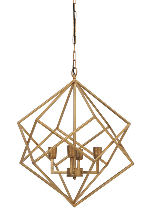 Large Gold Metal Open Lantern Light - 4 Lights