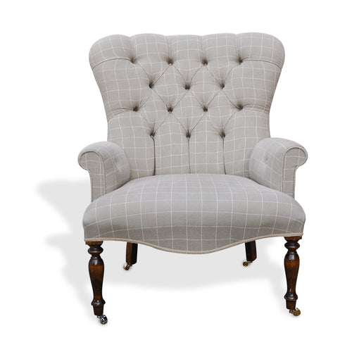 Chalk Check Button Back Chair - Large