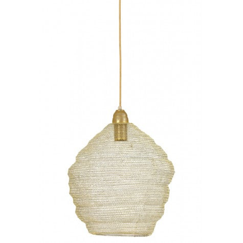 A simple and lightweight pendant made from a metal wire mesh that will add interest to your ceiling space.   H: 42 cm Dia: 38 cm  Requires one E27 bulb not included.