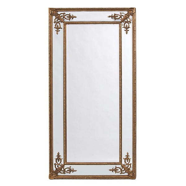 Elegant Large Gilt French Mirror - Gold