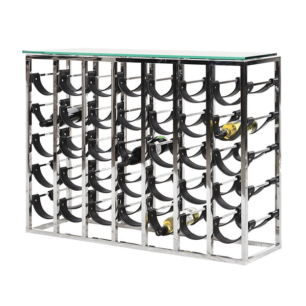 Metal Leather Wine Rack