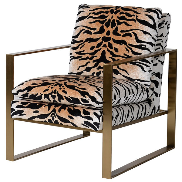 Golden Tiger & Square Metal Armchair, Tiger Print Occasional Chair, Comfy Stylish Chair. Modern Chair, Dimensions: H: 85 cm W: 66 cm D: 78 cm
