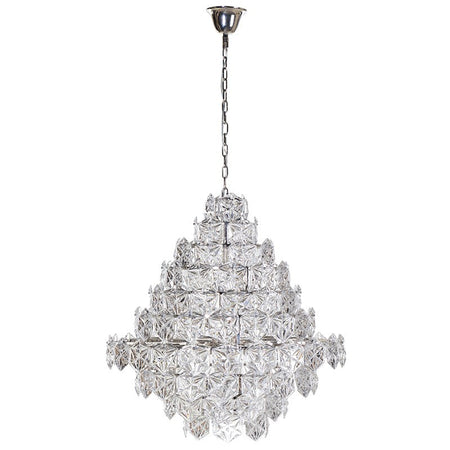 Chrome Smoke Glass Prism Drop Round Cascade Chandelier