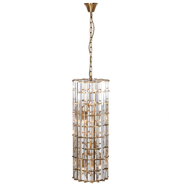 Gold & Crystal Long Chandelier