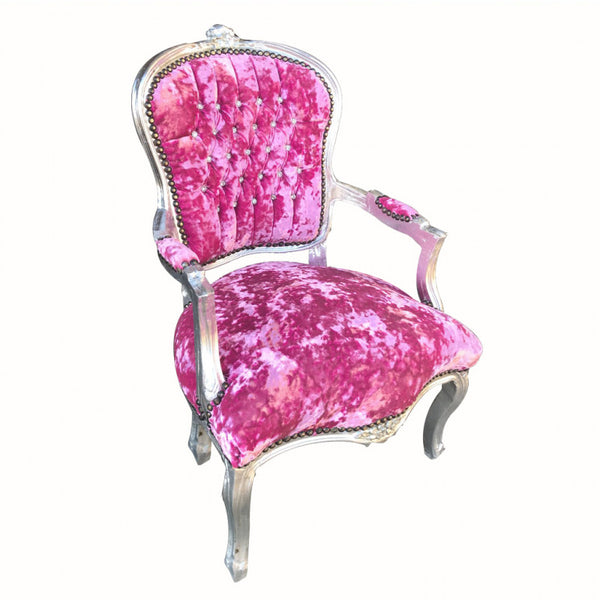 Crushed Hot Pink Velvet Chair with Silver Frame & Crystal Studded Back