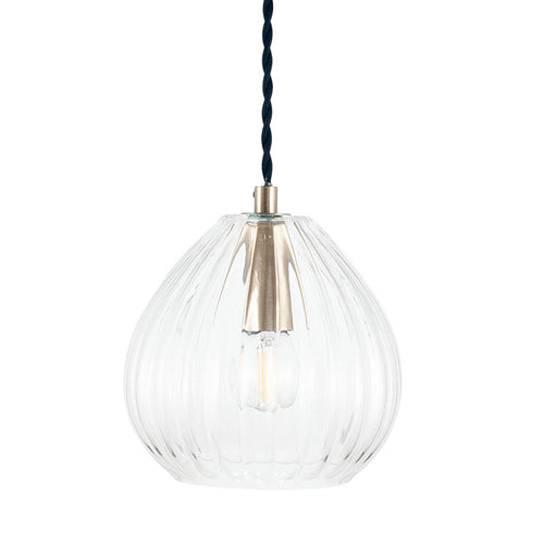 A beautifully simplistic and understated brushed bronze glass pendant with ribbed detailing.  Lovely as a pair of hanging bedside pendants or as a minimal cluster / trio placed over a kitchen island.   H: 16cm W: 16cm   One meter of twisted black flex included.    Bulb not included.