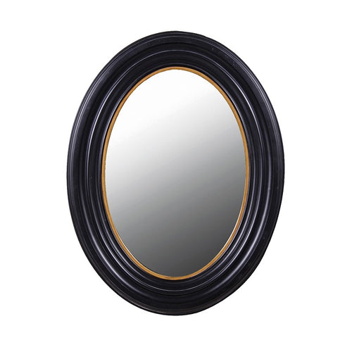medium Black & Gold Oval Mirror