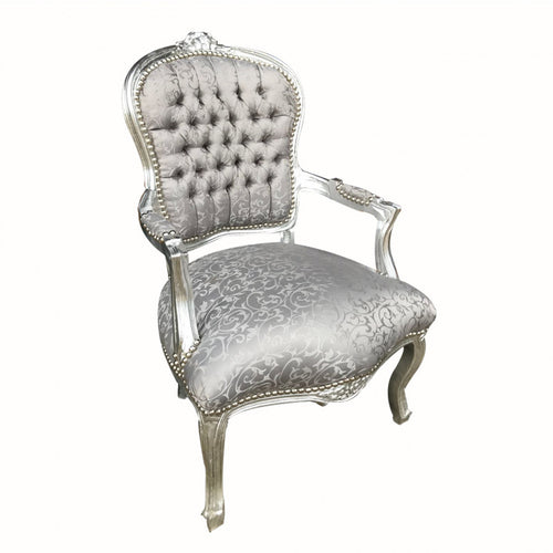 Grey Floral Chair With Silver Frame
