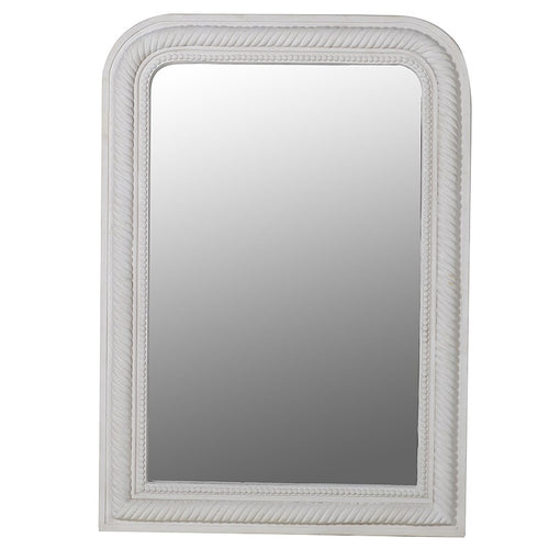 White Beaded & Rope Edged Mirror
